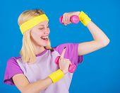 Beginner Dumbbell Exercises. Ultimate Upper Body Workout For Women. Fitness Concept. Girl Exercising poster