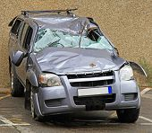 Unrecognizable Suv After Roll Over Traffic Accident poster