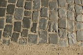 Stone Pavement Texture. Granite Cobblestoned Pavement Background. Abstract Background Of Old Cobbles poster