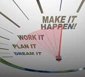 A white speedometer background with words representing steps to achieving success - Dream, Plan, Wor