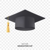 Vector Black Graduate Cap With Gold Tassel Isolated On Transparent Background. Square Academic Cap F poster
