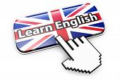 Learn English Language Online And English E-learning Concept With Hand Cursor Clicking On A Button W poster