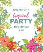 Bright Jungle Flowers And Palm Leaves. Tropical Party Vector Illustration. Place For Your Text. Seas poster