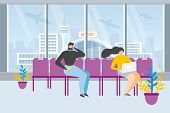 Waiting For Flight Flat Vector Concept. Airline Passenger Sitting In Airport Terminal Waiting Area O poster