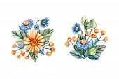 Watercolor Illustrations With Floral Bouquets For A Wedding. Floral Card With A Bouquet Of Yellow Da poster