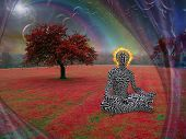 Man with burning halo meditates in lotus pose. Endless dimensions in the sky above surreal landscape poster