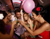 picture of limousine  - Party fun with champagne in limousine - JPG