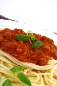 Freshly Cooked Plate Of Spaghetti With Fresh Green Herbs. poster
