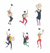Group Smiling Graduates People In Graduation Gowns Holding Diplomas And Happy Jumping. Vector Illust poster