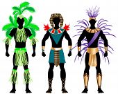 image of loin cloth  - Vector Illustration of three male Costumes for Festival Mardi Gras Carnival Halloween or more - JPG