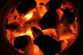 pic of shisha  - Charcoal flame fire flammable prepare for shisha - JPG