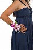 picture of senior prom  - Prom corsage with exotic orchids and manicured hand - JPG