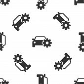 Grey Car Service Icon Isolated Seamless Pattern On White Background. Auto Mechanic Service. Mechanic poster