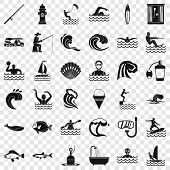 Ocean Water Icons Set. Simple Style Of 36 Ocean Water Vector Icons For Web For Any Design poster