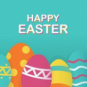 Happy Easter Background Template With Beautiful Eggs. Happy Easter Big Hunt Or Sale Banner Lettering poster