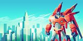 Powerful Transformer Robot Warrior Standing With Clenched Fists On Background Of Modern City Skyscra poster