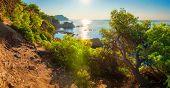 Mediterranean Sea Coast In Costa Brava, Spain At Afternoon. Scenic Landscape Coastline In Lloret De  poster
