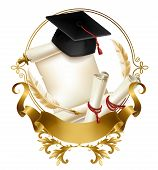 College Or School Emblem 3d Realistic Vector. Graduation Hat On Blank Parchment Scroll Of Diploma Or poster