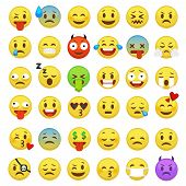 Emoticons Set. Emoji Faces Emoticon Smile Funny Digital Smiley Expression Emotion Feelings Chat Mess poster