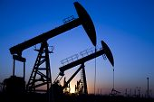 picture of oilfield  - Silhouette of oil pump jacks with sunset - JPG