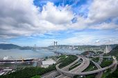 picture of tsing ma bridge  - Tsing ma bridge at day - JPG
