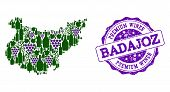 Vector Collage Of Grape Wine Map Of Badajoz Province And Purple Grunge Stamp For Premium Wines Award poster