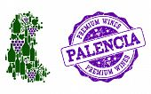Vector Collage Of Grape Wine Map Of Palencia Province And Purple Grunge Seal Stamp For Premium Wines poster