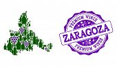 Vector Collage Of Grape Wine Map Of Zaragoza Province And Purple Grunge Seal Stamp For Premium Wines poster