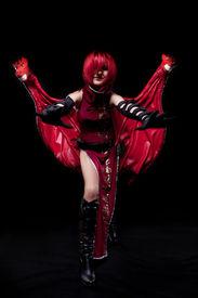 image of banshee  - red fury girl cosplay anime character costume with dragon head - JPG