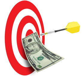 foto of marketing plan  - Bulls eye with dart and ten dollar bill pinned - JPG
