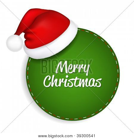 Green Speech Bubble With Santa Hat