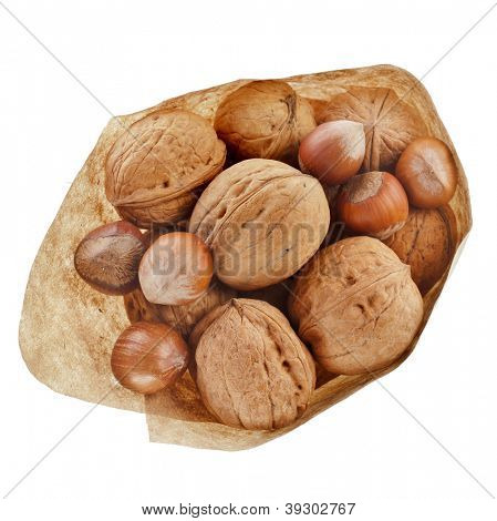 walnuts and hazelnut filbert  in paper bag isolated on white background