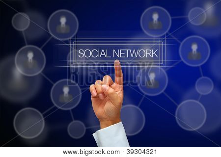 Hand Pressing Button Social Network