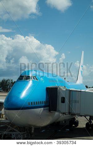 KLM Boeng 747 avião em Sint Maarten, Antilhas Holandesas
