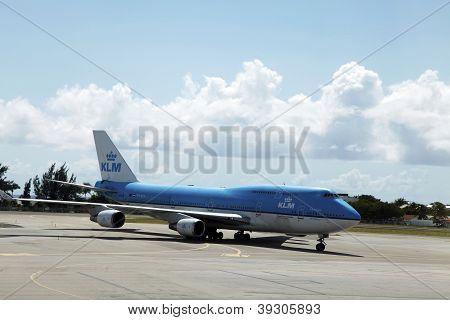 KLM Boeing 747 plane arrived at  Sint Maarten, Netherlands Antilles
