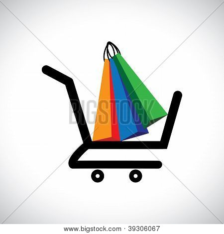 Concept Illustration - Online Shopping Cart & Bags. The Graphic Contains A Shopping Cart Symbol With