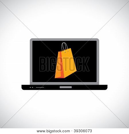 Buying/shopping Online Using A Computer(laptop). The Graphic Contains A Laptop And Shopping Bag Symb