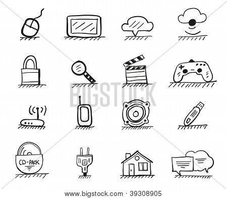 Web hand drawn icons