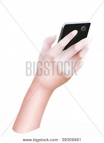 Person Hand Using A Generic Smart Phone