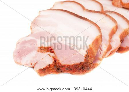 Bacon Sliced Isolated On A White Background