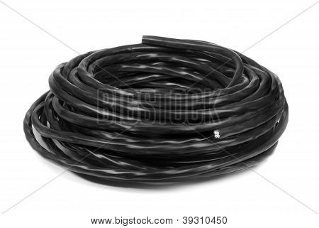 Black Electrical Cable Isolated On White Background