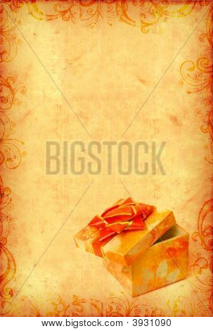 Vintage Wallpaper With Gift Box