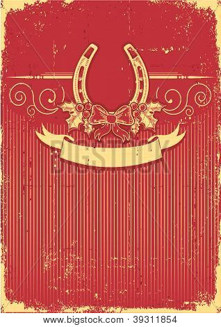 Horseshoe On Vintage Red Christmas Background With Holly Berry Decoration
