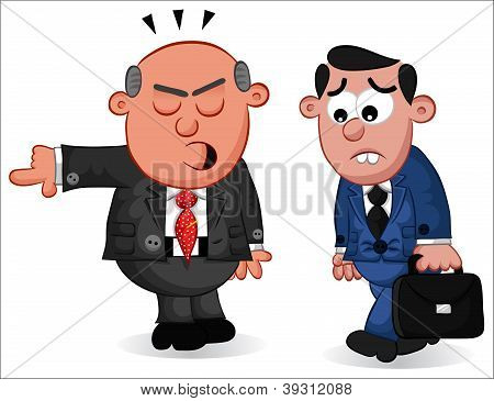 Business Cartoon - Boss Man Firing an Employee