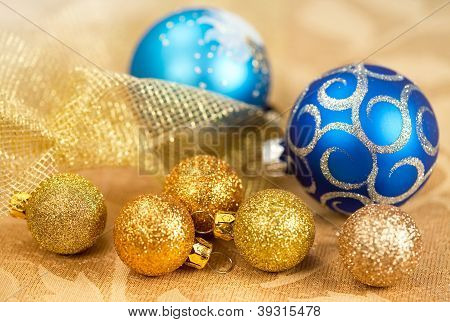 Christmas Decorations Golden And Blue Balls