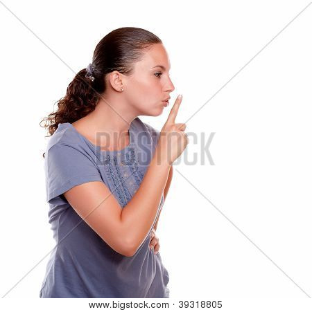 Attractive Young Woman Requesting Silence