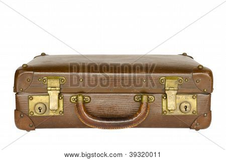 old leather suitcase isolated