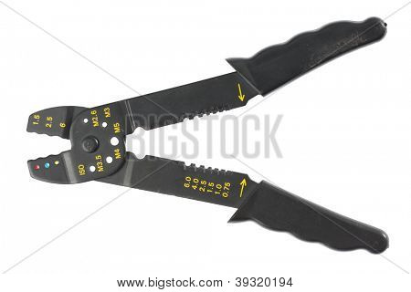 Black crimping tool in front of white background