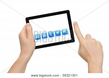 Tablet pc & icons, finger pointing