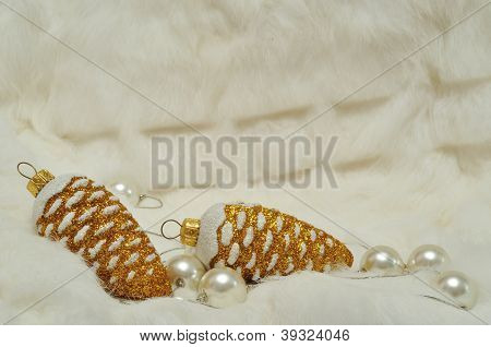 Christmas Decorations In Gold And White With Free Space